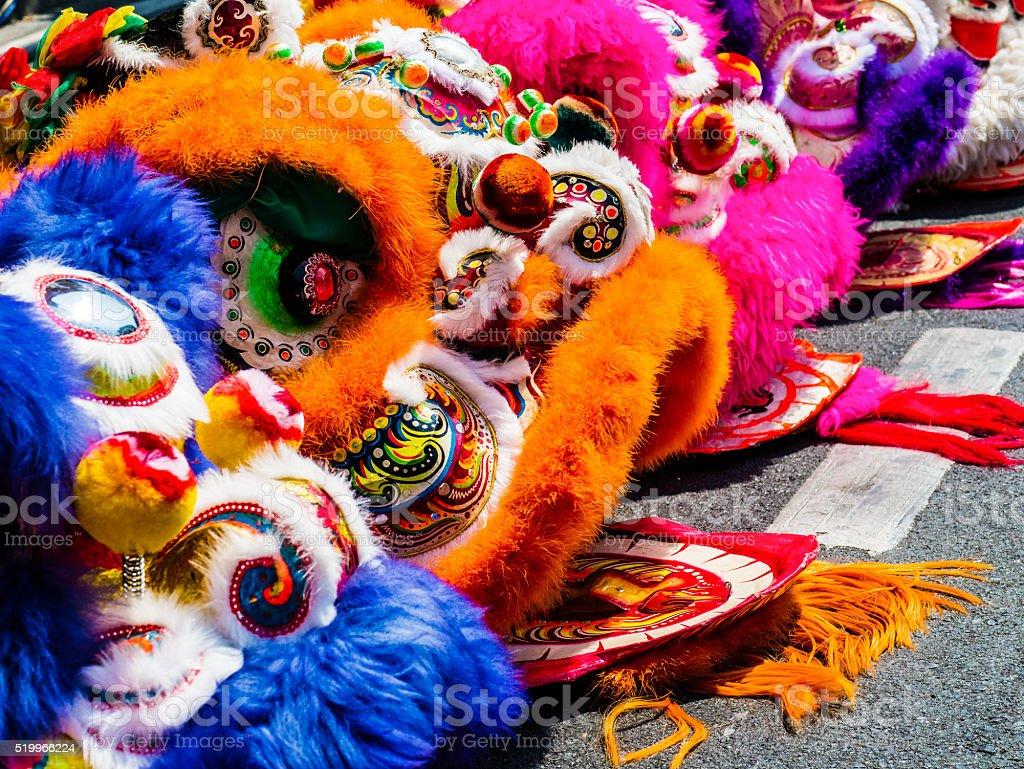 Lion dance costumes stock photo