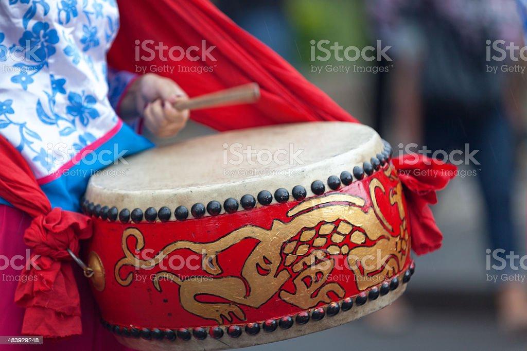 Lion Dance Drum stock photo