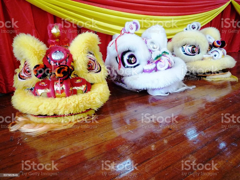 Lion dance performance stock photo