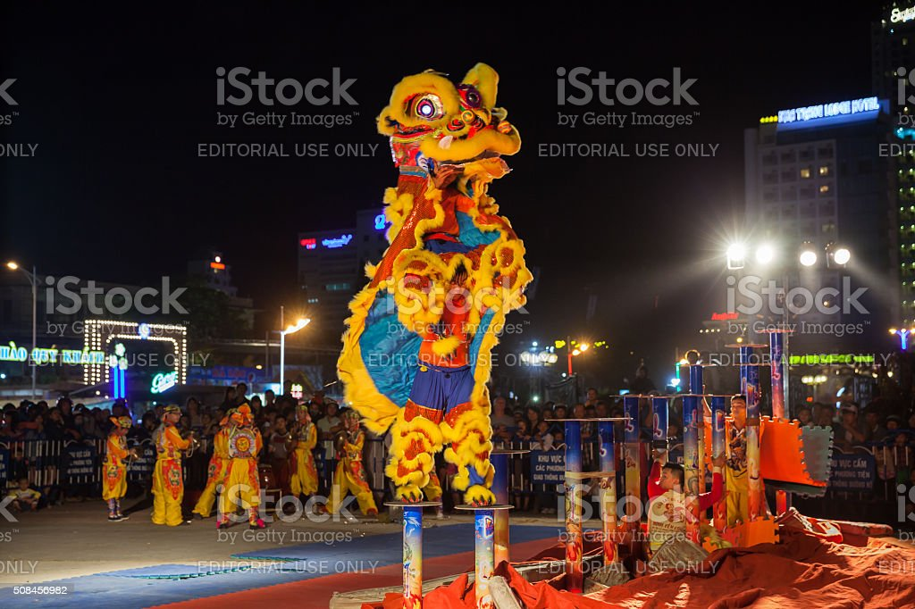 Lion dance show commemorated to the Chinese New Year stock photo