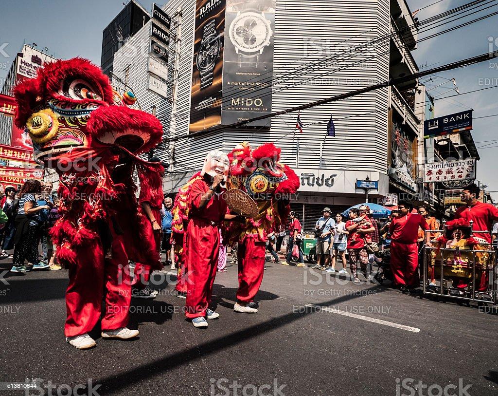 Lion dancers durin the Chinese New Year Chinatown Bangkok stock photo