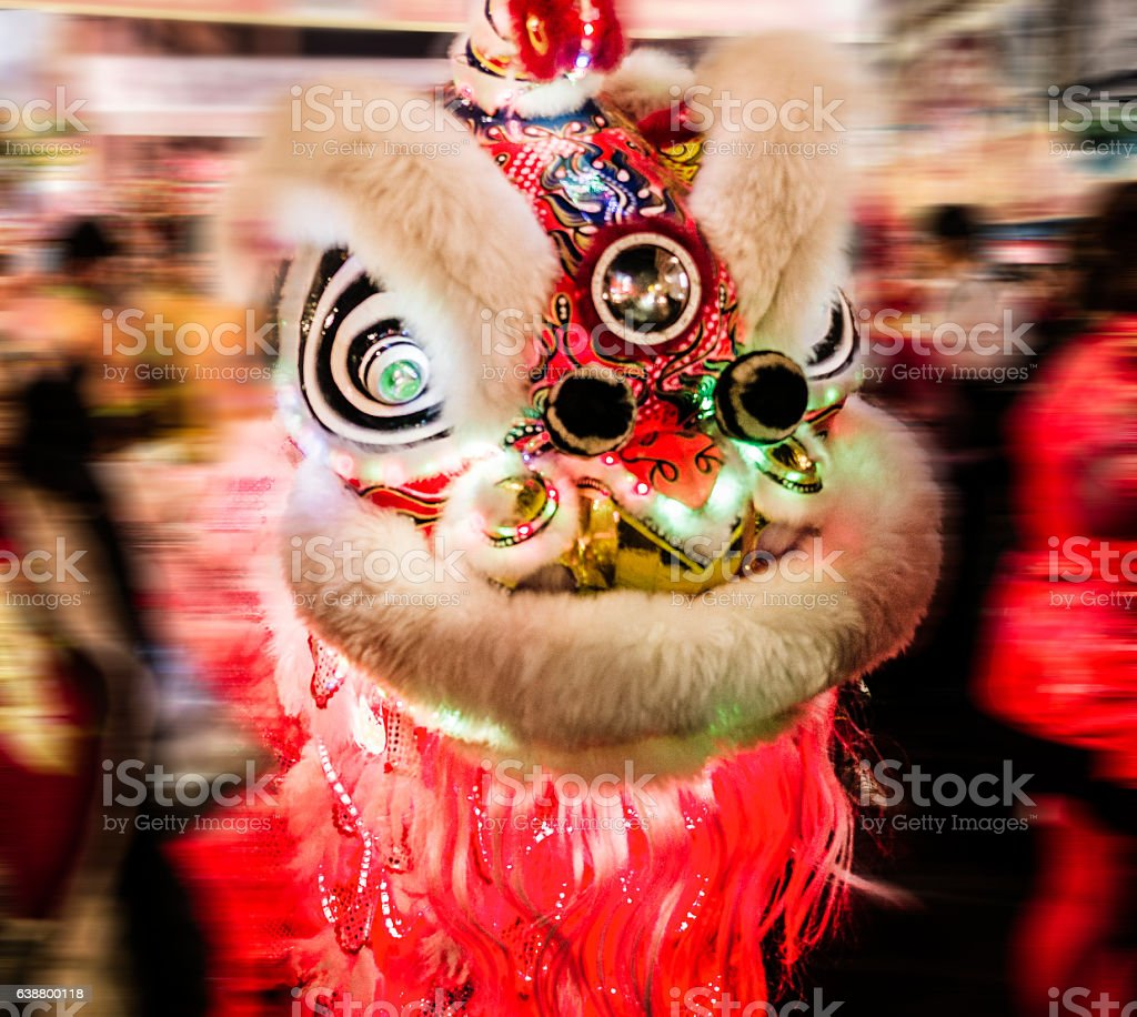 Lion dancing during Chinese New Year stock photo