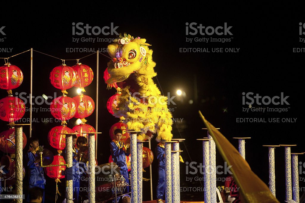 Lion dancing in Chinese New Year . royalty-free stock photo