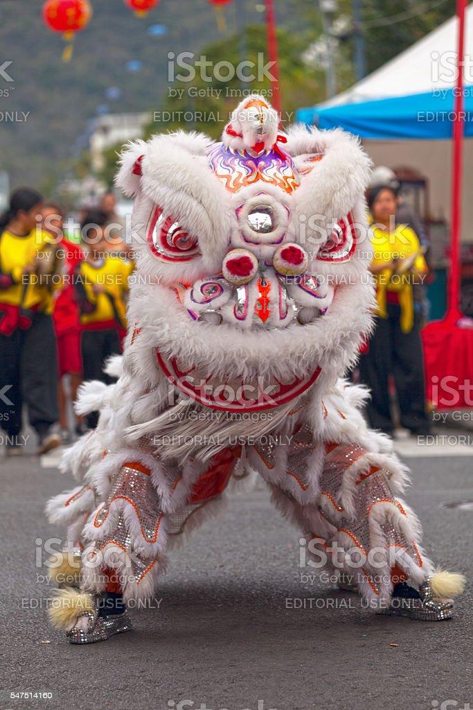 Lion dancing stock photo
