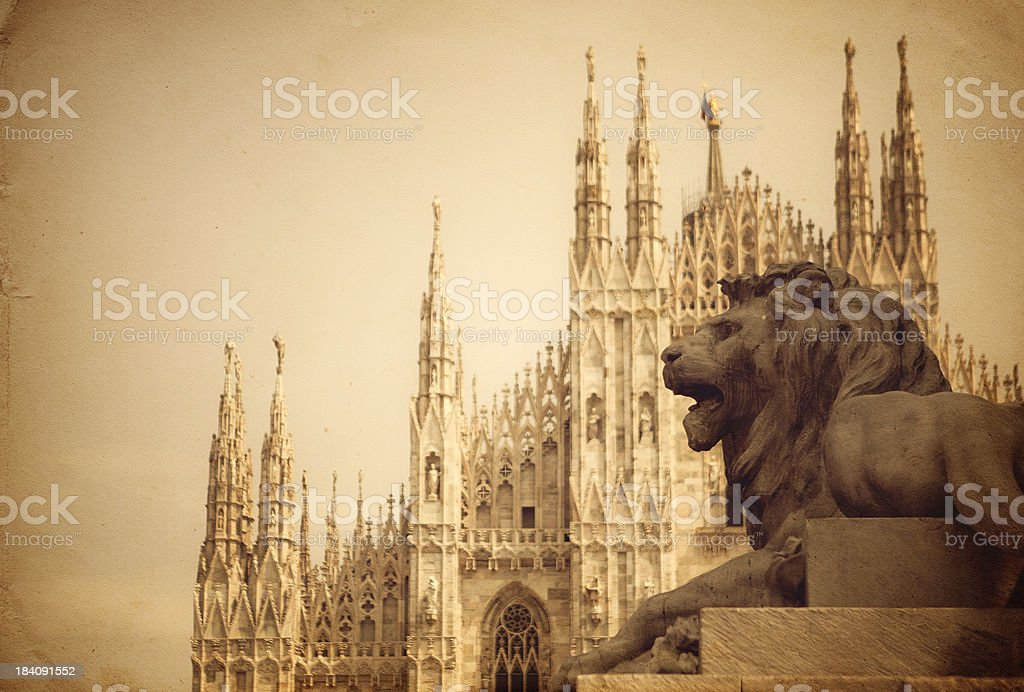 Lion detail at the statue of King Victor Emmanuel II stock photo