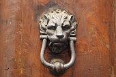 Lion door knocker on old wooden gate