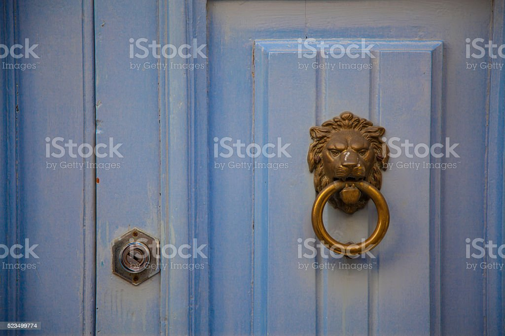 Lion doorknob stock photo