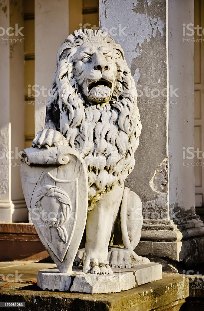 Lion - guard of the ruined palace. HDR photo stock photo