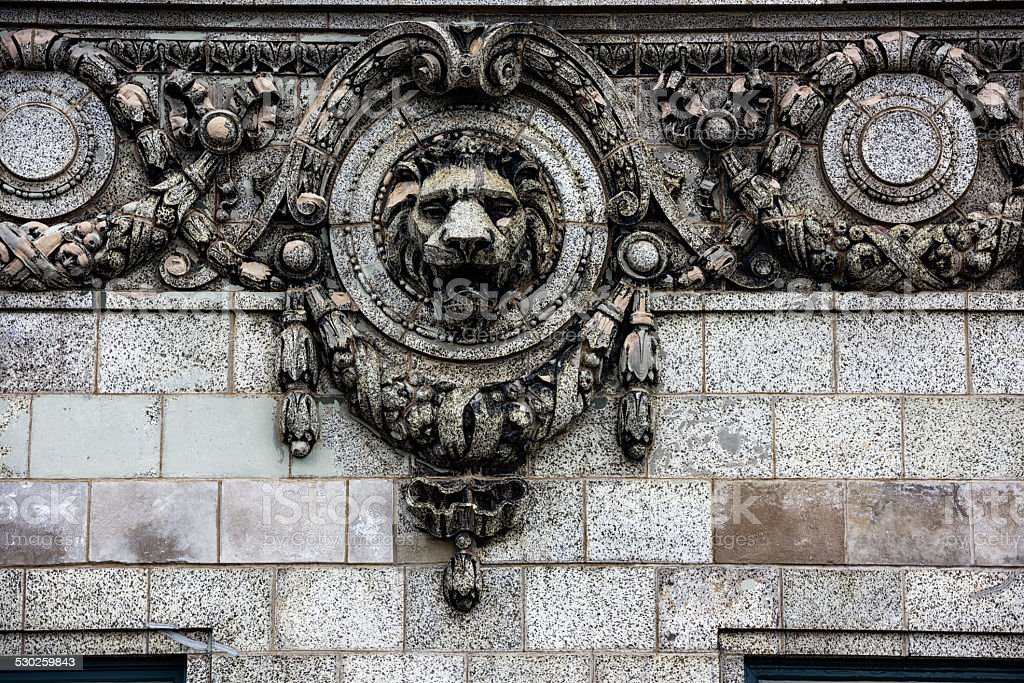 Lion head architectural detail in Chicago stock photo