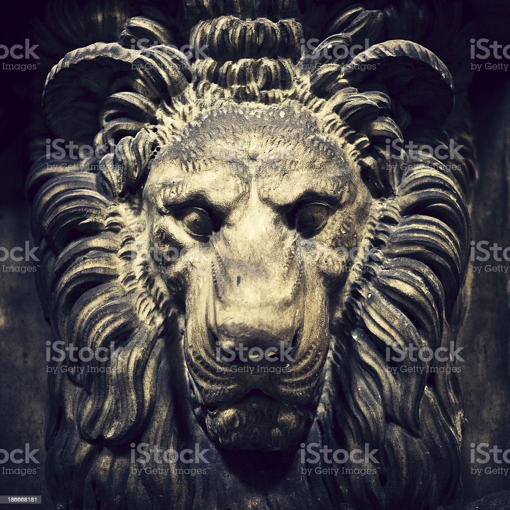 lion head architectural detail royalty-free stock photo