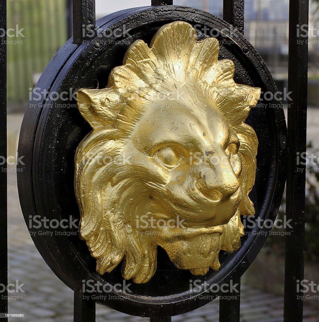 Lion head cast on Cremorne Gate stock photo