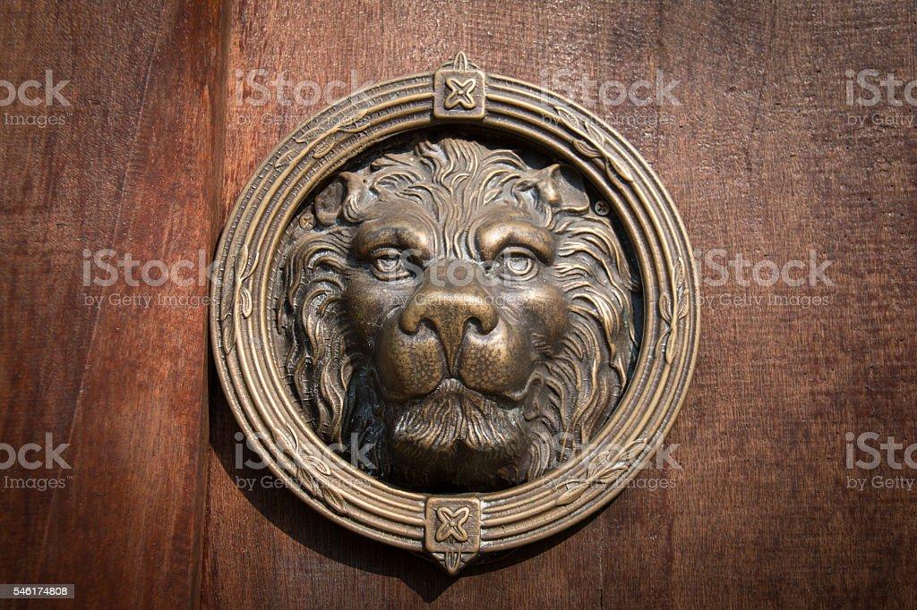 Lion Head Door Knocker, Ancient Knocker. stock photo