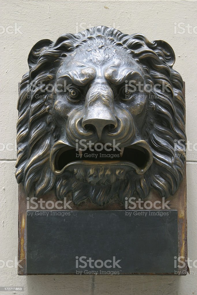 Lion head doorplate royalty-free stock photo