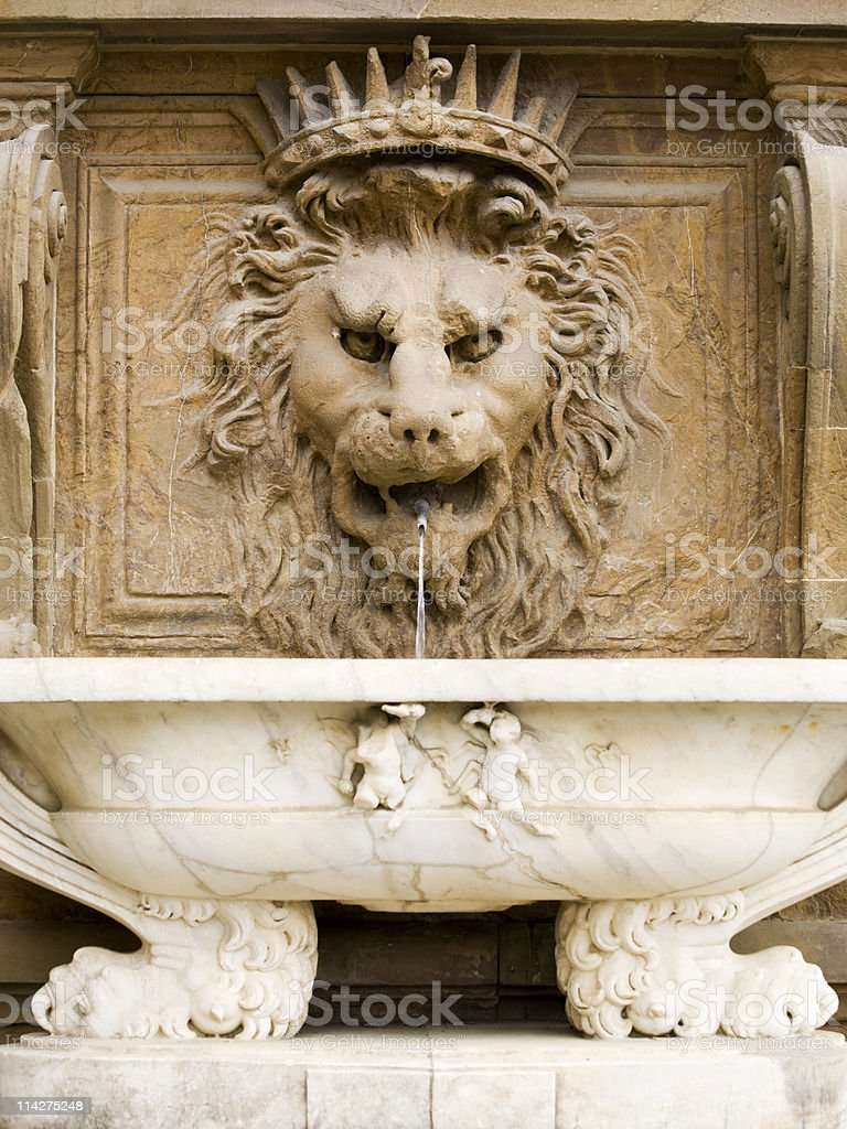 lion head fountain at the Palazzo Pitti, Florence royalty-free stock photo