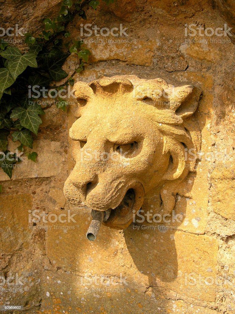 Lion head fountain stock photo