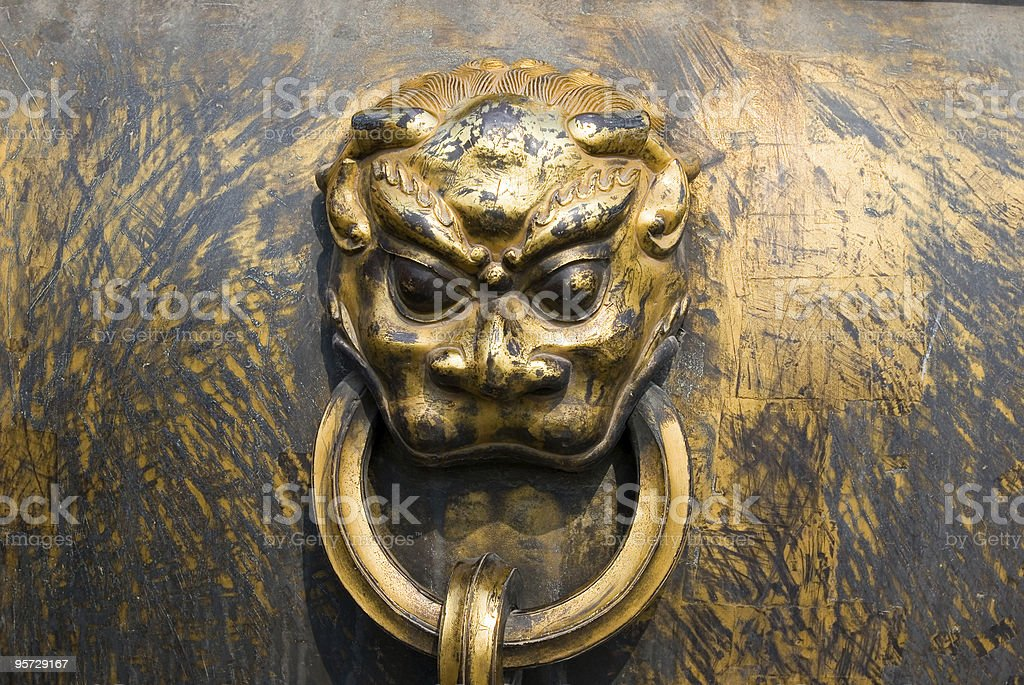 Lion head handle of Chinese bronze urn royalty-free stock photo