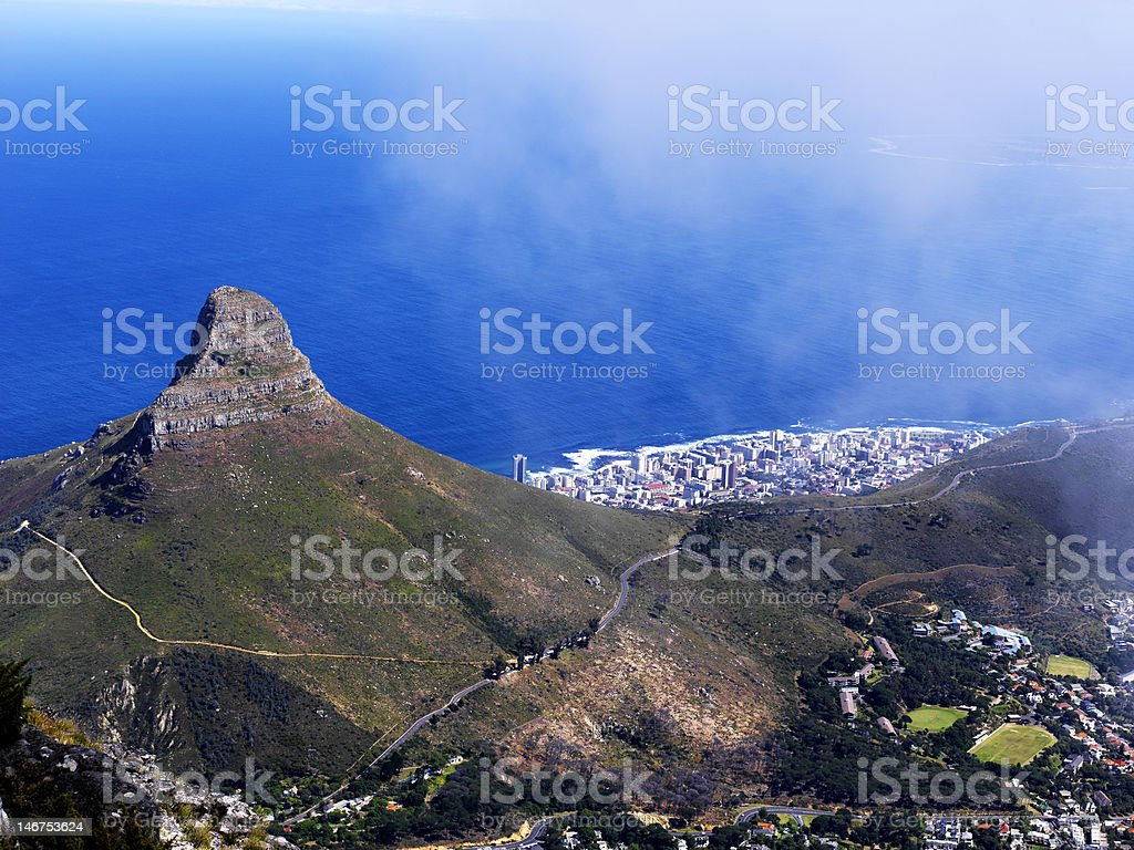 Lion Head in Cape Town stock photo