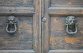 Lion head knockers on an old wooden door
