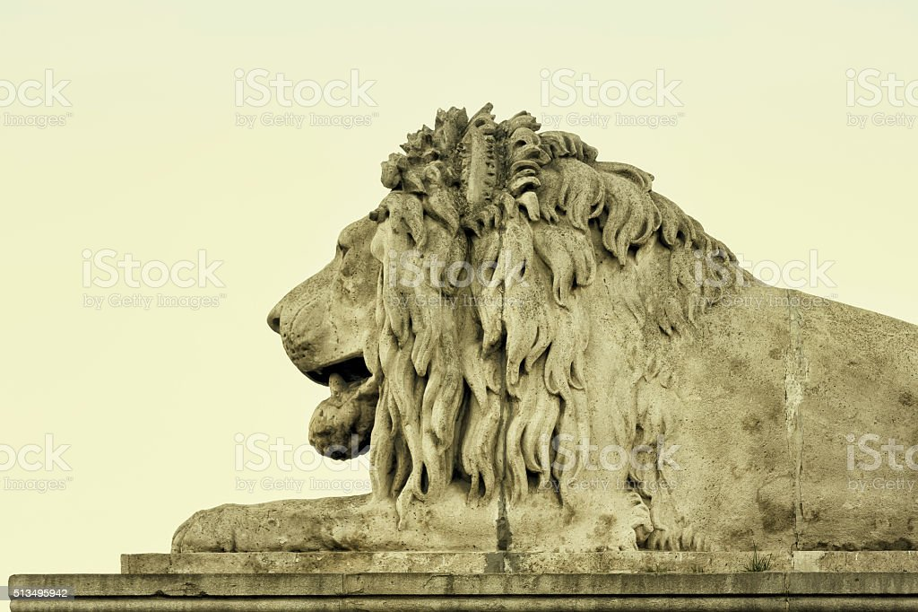 Lion head of Chain Bridge Budapest stock photo