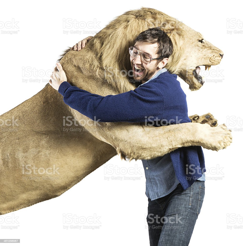 Lion Hug stock photo