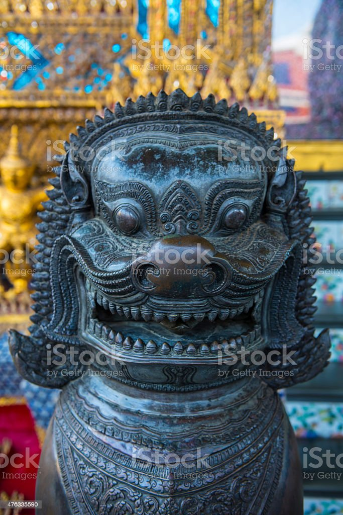Lion in an ancient thai palace stock photo