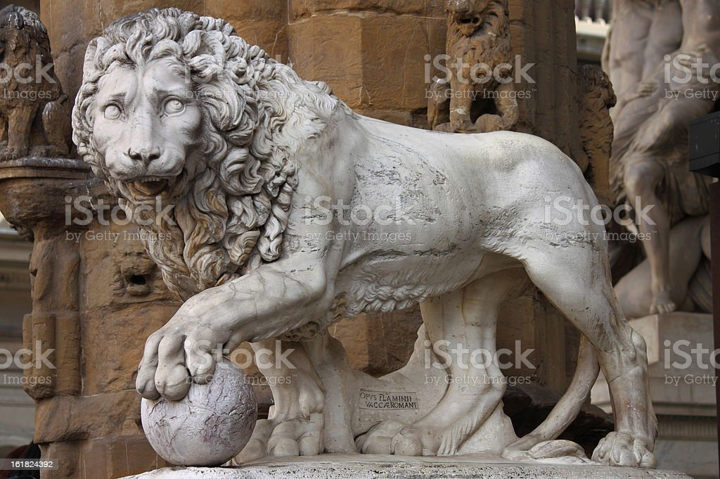 Lion in Florence stock photo