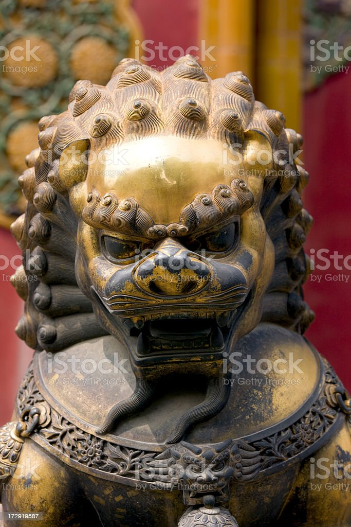 lion in fobidden city stock photo