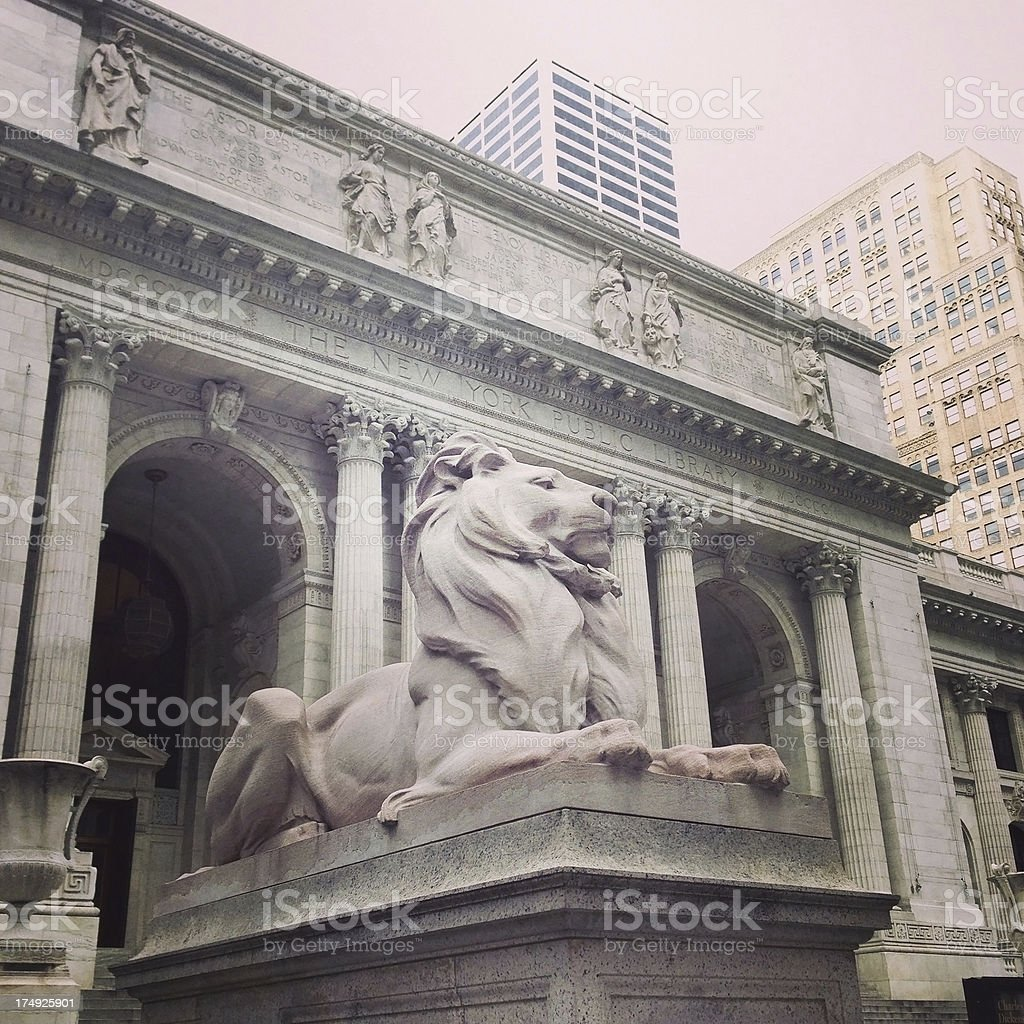 Lion in front of the New York Public Library stock photo