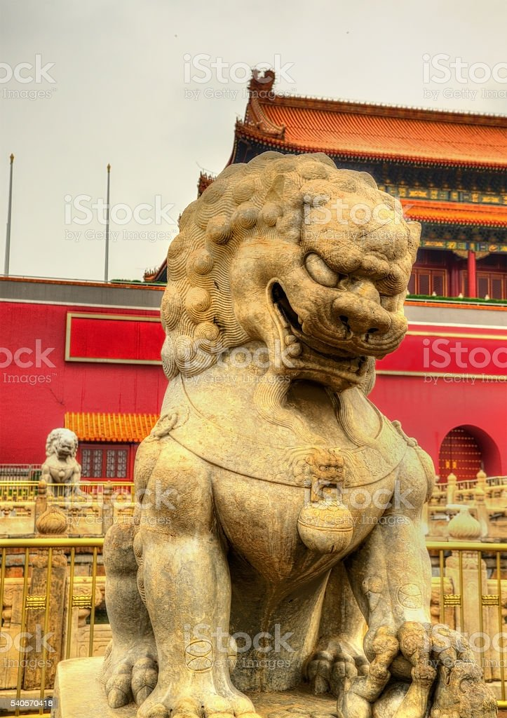 Lion in front of the Tiananmen Gate in Beijing stock photo