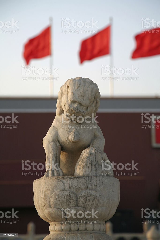 Lion in front of the tiananmen gate royalty-free stock photo