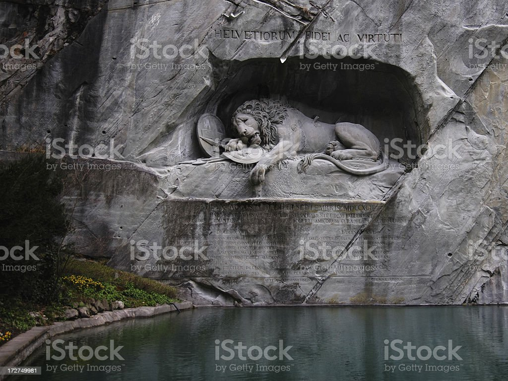 Lion Monument in Lucerne stock photo