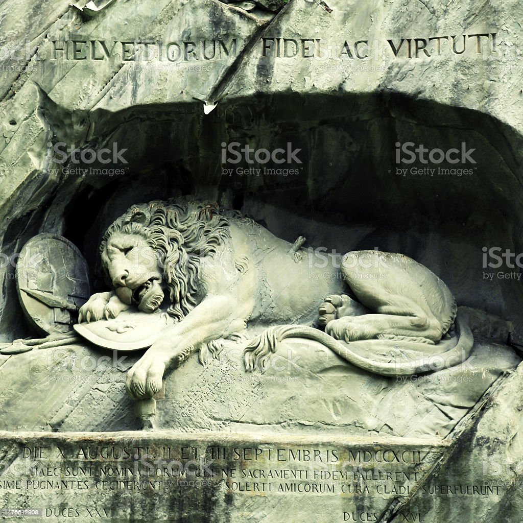 Lion Monument (Loewendenkmal) in park (Lucerne, Switzerland), stock photo