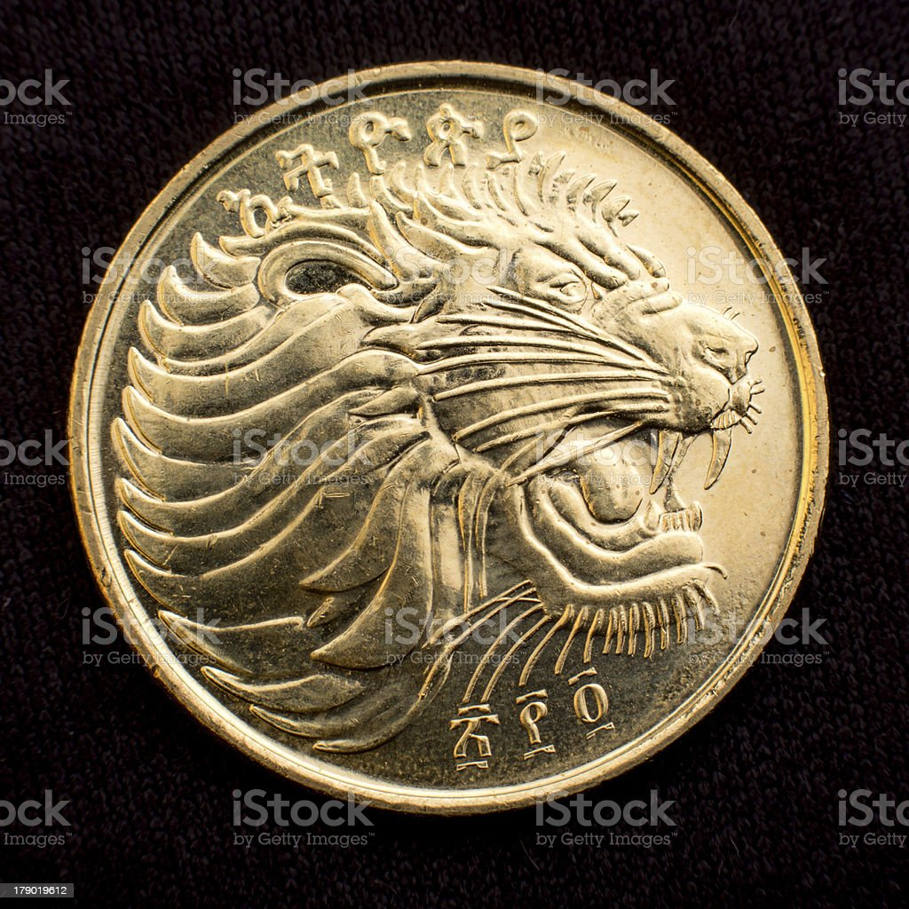 Lion of Judah on a coin royalty-free stock photo