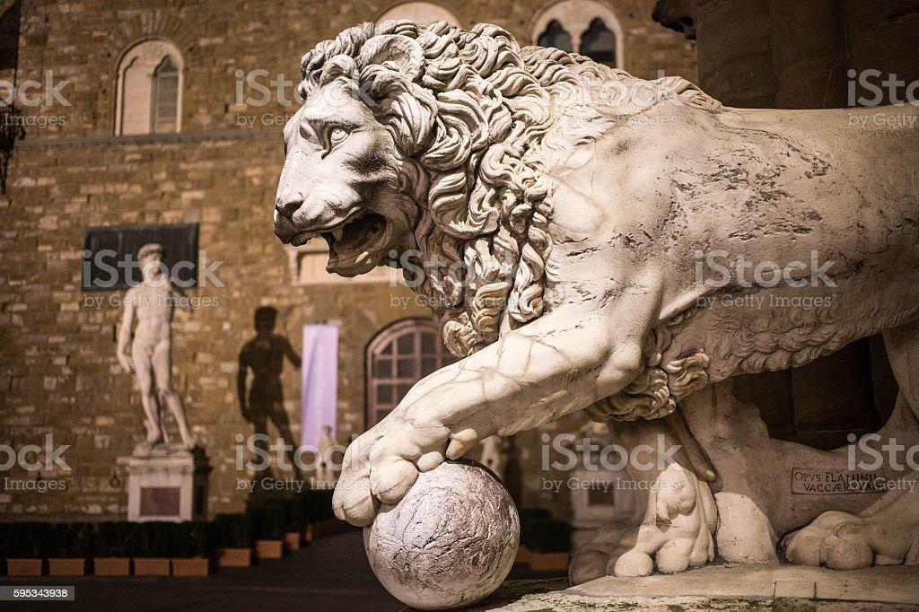 Lion of Piazza dei Signori stock photo