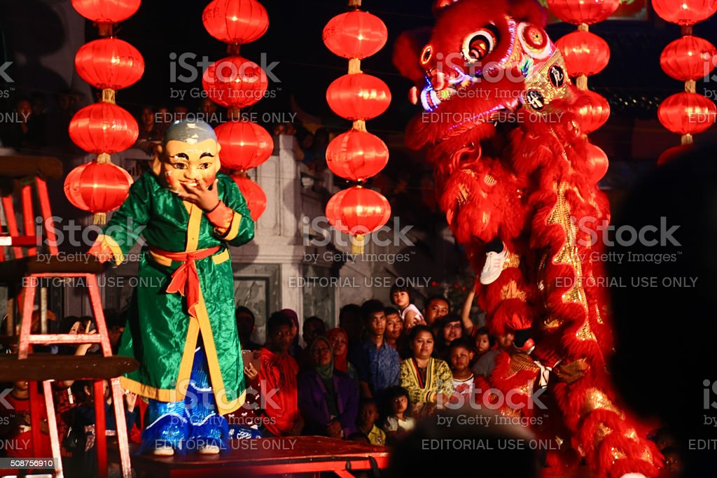 Lion perfom when Lunar new year stock photo