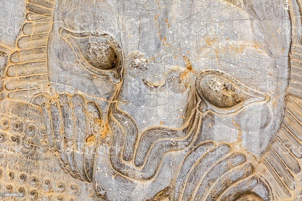 Lion relief detail Persepolis stock photo