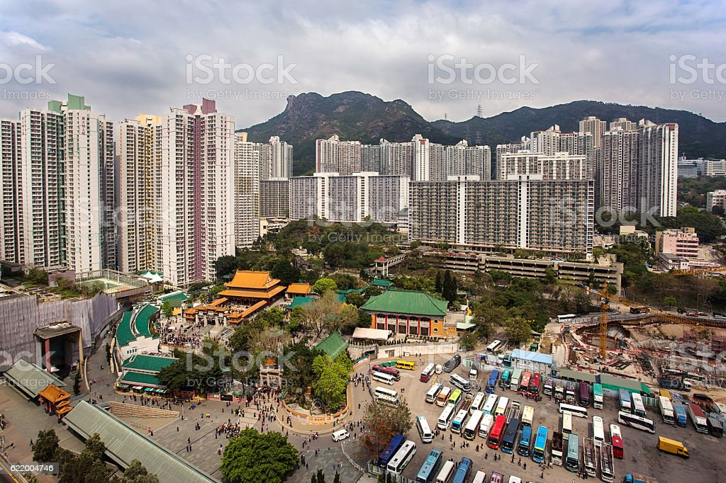 Lion Rock Mountain view from residential area of hong kong stock photo
