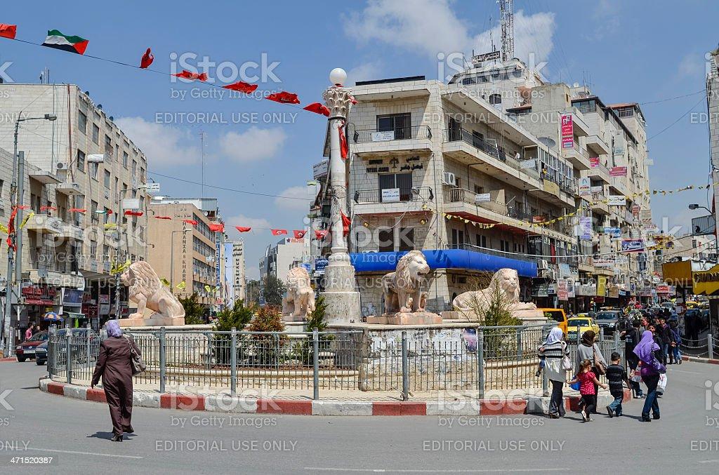 Lion Sculptures in Ramallah stock photo