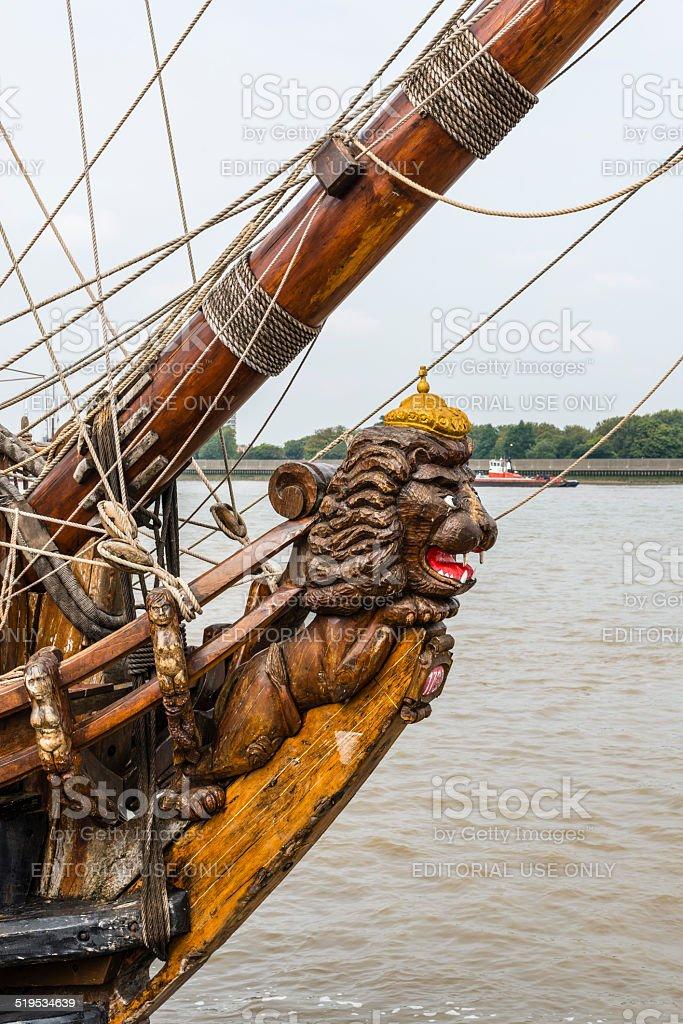 Lion ships figurehead stock photo