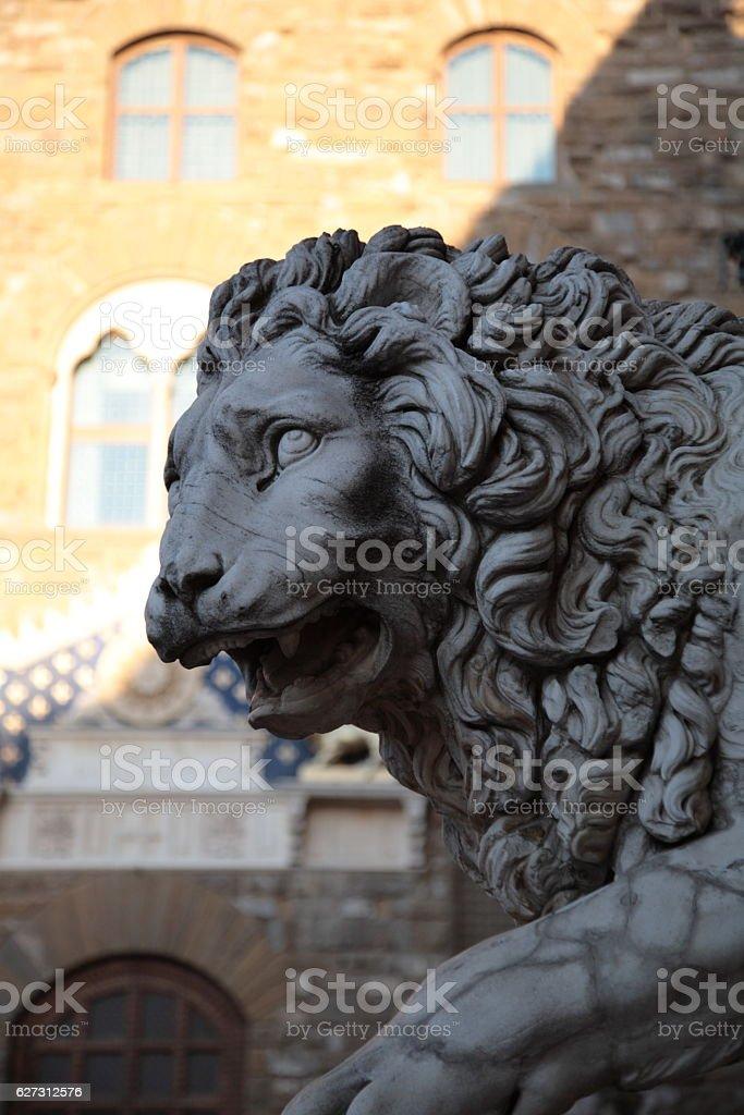 Lion statue at piazza della signoria, Florence, Italy stock photo