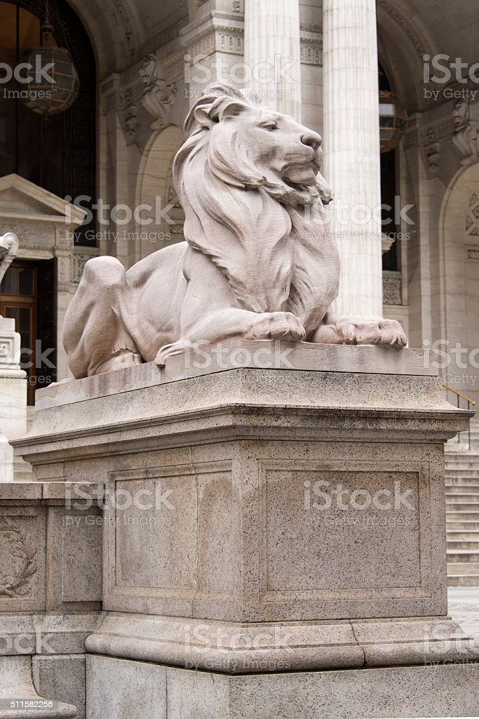 Lion statue at the New York Public Library stock photo