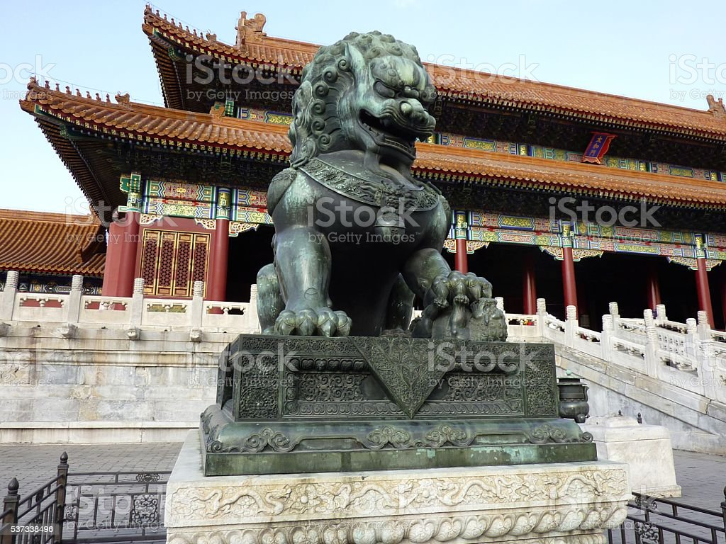 Lion statue, Forbidden city, Beijing stock photo