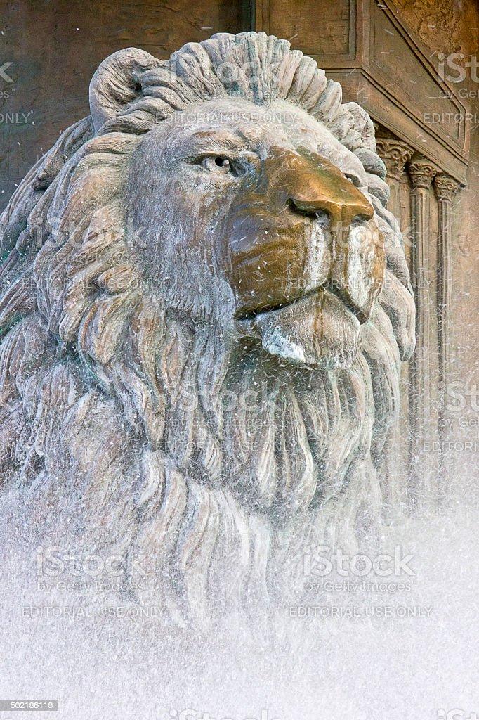 Lion statue fountain stock photo