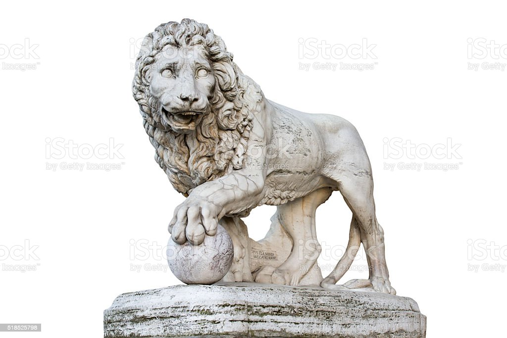 Lion Statue in Florence Italy Isolated on White stock photo