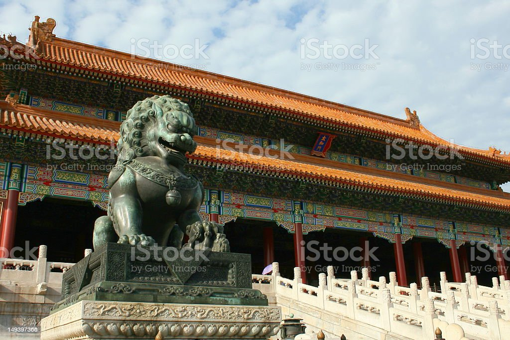 Lion Statue in forbidden city stock photo