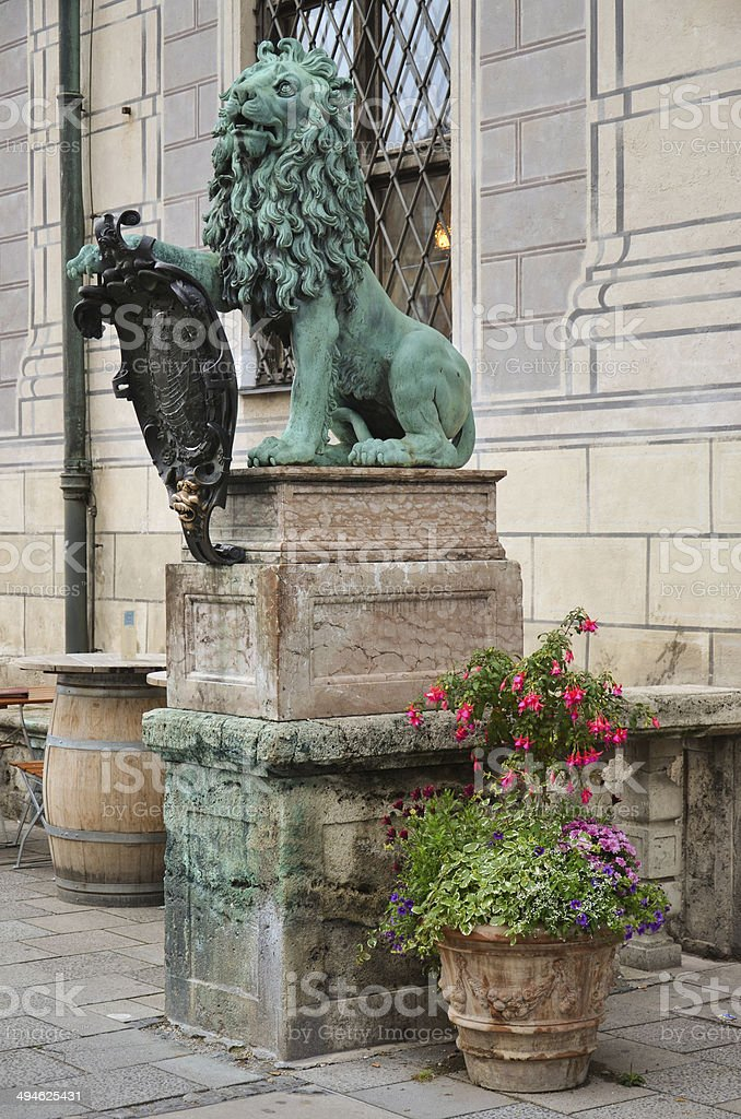 Lion statue in front of the Residenz 3 royalty-free stock photo