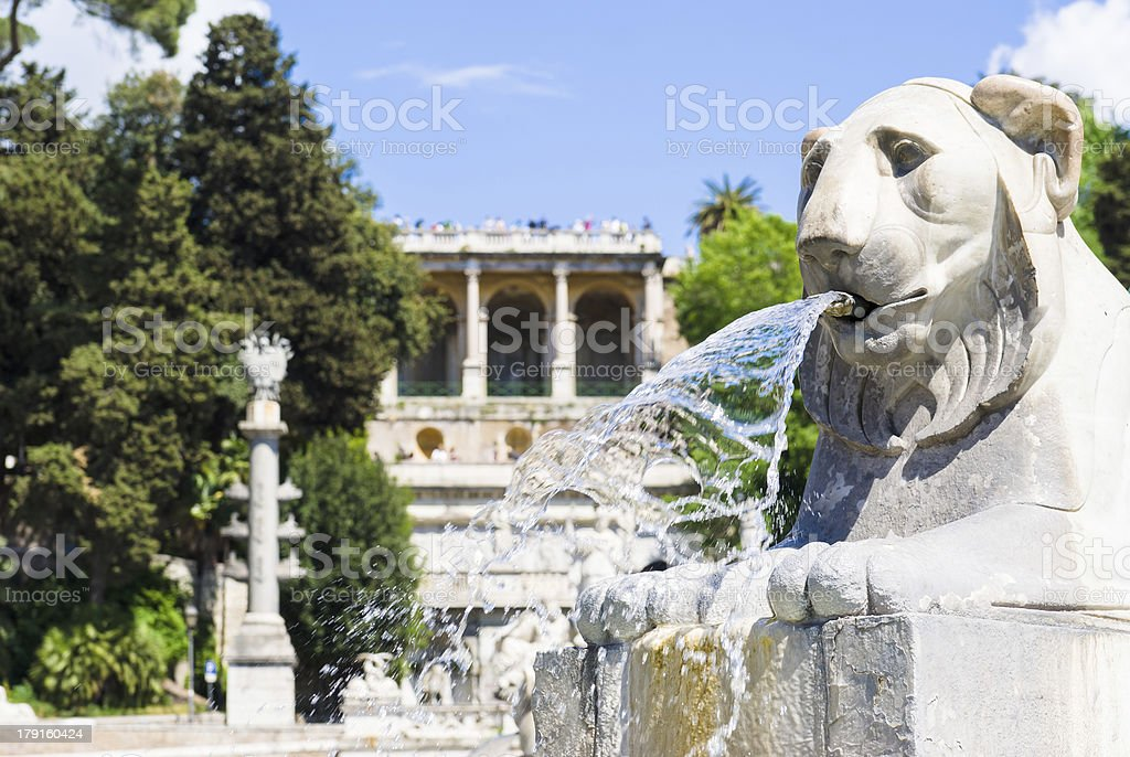 Lion statue in Piazza del Popolo, rome, Italy royalty-free stock photo