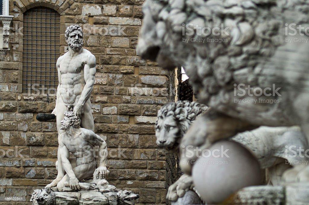 Lion Statue in Piazza della Signoria - Florence, Italy stock photo