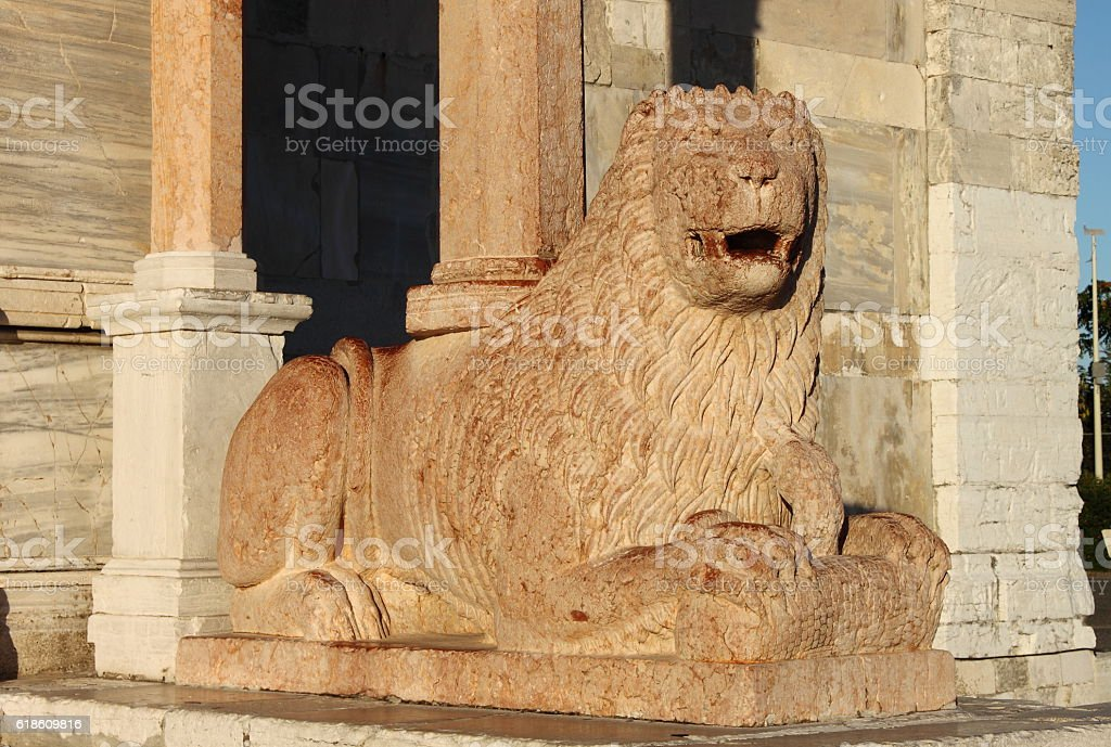 Lion statue in Saint Cyriacus cathedral stock photo