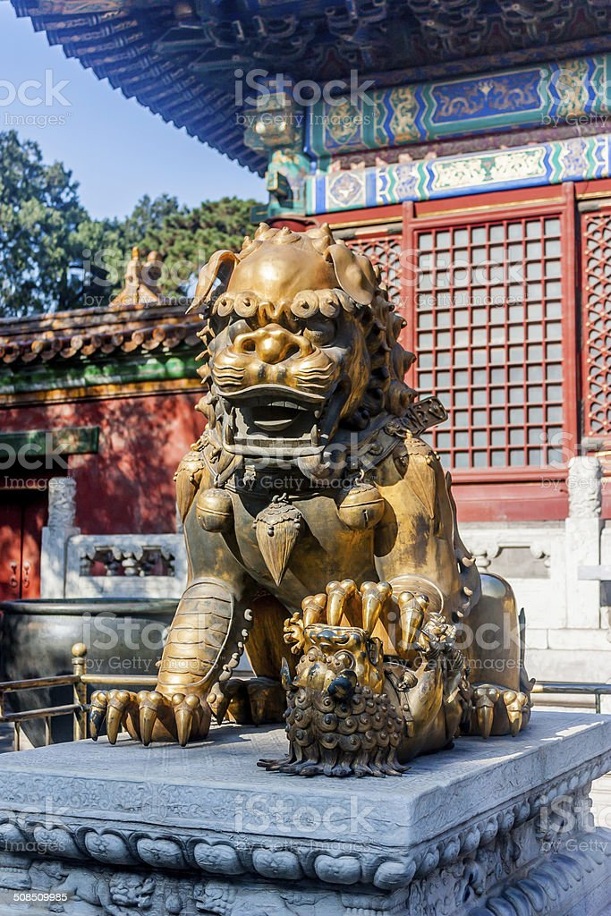 Lion Statue in the Summer Palace stock photo